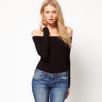 Black knitted slit neckline strapless slim elastic long-sleeve T-shirt haoduoyi basic shirt