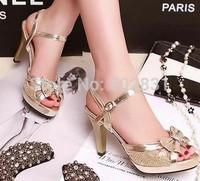 Gold wedding shoes open toe sandals bow button platform thick heel rhinestone belt female high-heeled sandals  S612