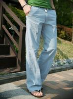 Hot!Summer new men's linen pants men's fashion loose breathable linen pants straight casual trousers