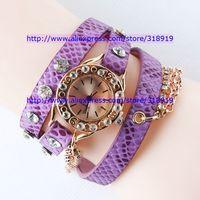 50pcs/lot 2014 Hot Punk watch fashion women ladies Rhinestone diamond chain quartz watch popular dress long leather watches