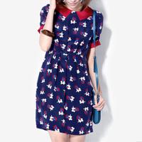 Print one-piece dress short-sleeve dress blue one-piece dress slim gentlewomen fashion female