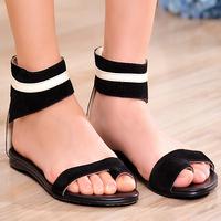 Ladies Roman style ankle strap clip toe Flat sandals Women's genuine leather sandals comfortable flat flip-flop female sandals