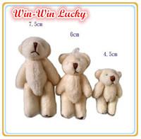 4.5 cm Mini Teddy Bear Soft Joint Stuffed Bear Wedding Decoration Doll Cartoon Toy Can Sit Plush Bear 20 Pcs / lot Promotion