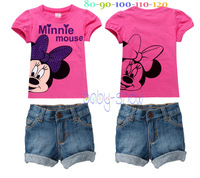 Retail Free Shipping 2014 New Arrival brand girls minnie mouse T shirt + jeans shorts set,girls clothing set,kids summer cloth