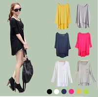 New Fashion Candy Color Simple Basic Women Full Sleeve Casual Loose Long Ladies' T Shirts/ Tee