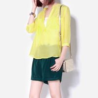 Fashion fashion 2014 spring yellow top perspectivity shirt silk cotton shirt three quarter sleeve shirt