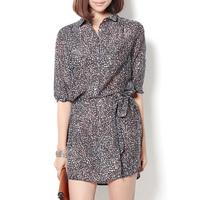 Print one-piece dress one-piece dress slim one-piece dress silk cotton short-sleeve female fashion all-match