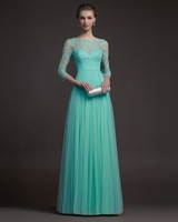 Free Shipping Turquoise Tulle Elegant Lace Evening Dress Long Sleeves Prom Formal Gown  Bridal 2014 New Arrival