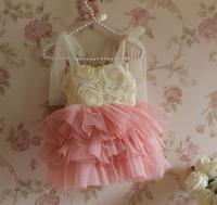 5pcs/lot New arrive girls fashion princess dresses 2014 summer pink girls shining flowers dress kids tutu dresses lace dress