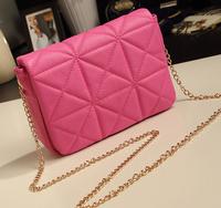 New Stylish 2014 Fashion Lovely Plaid Women Messenger Bag Chain Bag with Sweet Shoulder cross-body Bag Pink le boy Sac