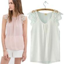 primavera verão senhoras novo 2014 za marca patchwork laço transparente chiffon blusa camisa sem mangas casual vestuário topo l027(China (Mainland))