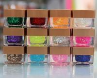 8ml 12 Pcs  Mixed Color  UV Color Glitter Powder Gel UV Gel Builder Nail Art Kit Set