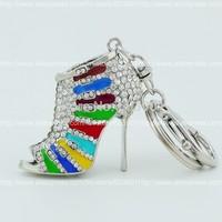 12pc  High Heel shoe double side multicolor rhinestone crystal Key chain Alloy Key ring hand Bag car Charm jewelry accessory