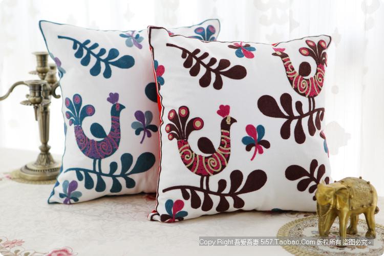 Grosso bordadas à mão por estilo folk rural fronha / travesseiro capa de almofada covers presente de casamento novas casas(China (Mainland))