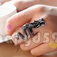 50pcs free ship man or lady fashion alloy jewelry finger ring retro dragon hand ring