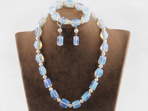 Details über schöne opal Stein und weiß süßwasser perlenkette, armband& ohrringe