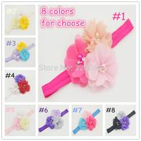 Free shipping bling Pearl Chiffon Ruffled Flower headband baby fabric Flower FOE headband girl kids hair accessories 120pcs/lot