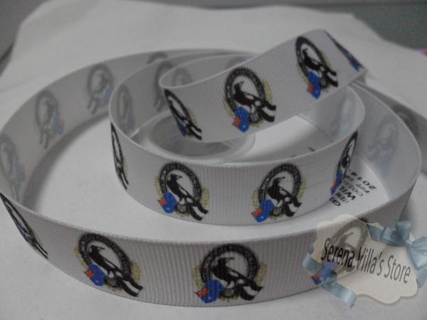 Collingwood football decoration sports printed grosgrain ribbon 7/8 cheap customized handmade hair craft accessories new 2014(China (Mainland))
