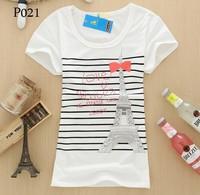 [Alice] new women t shirt 2014 summer cotton t-shirt short sleeve o neck cartoon printed tees p021