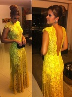vestido de renda amarelo 2015 Elegant Yellow Lace Backless Floor Length Special Occasion  For Evening Prom Party Long Dress
