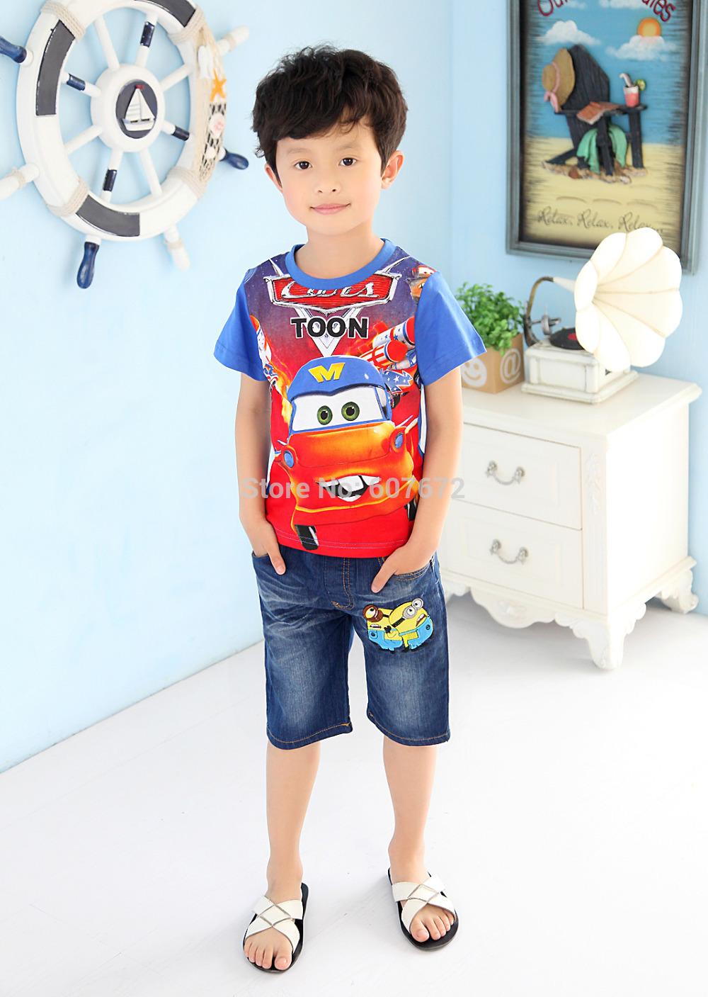 1Set Retail Free Shipping 2015 NEW Nova Kids Clothing Set fashion carT Shirt+short pants Summer Boys Clothes Set m(China (Mainland))