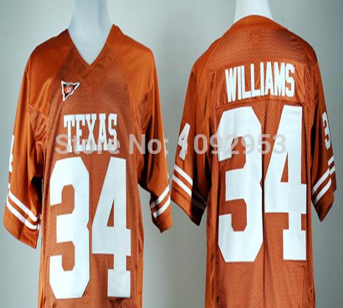 NCAA Texas Longhorns #34 Ricky Williams Burnt Orange College Football Jerseys Embroidery Design China Williams Jerseys Wholesale(China (Mainland))