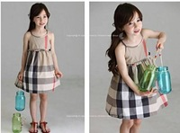 Wholesale -summer  GIRL plaid dress  thin for 80CM-120CM children color: red and brown  free shipping