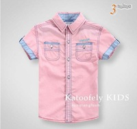 KIDS BOY WHITE SHIRT with some red plaid in summer boy Thin white/PINK/BLUE FREE SHIPPING 5PCS LOT