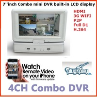 Free shipping 4 Ch P2P  HDMI VGA  H.264  1080P  7 inch Combo MINI LCD DVR all in one ,white