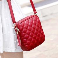 New Fashion 2014 Small Plaid Faux Leather Messenger Bag Women Shoulder Bag Designer items School Bagback Sale