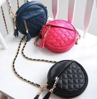 Small Bag 2014 Popular Summer Candy color Chain Women Messenger Bag Tassel Plaid Shoulder cross-body Women's Round handbag Sac