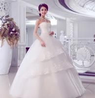 new set auger strapless strap wedding dress with elegant luxury neat, restore ancient ways of lotus leaf lace wedding dress