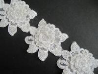 15yard 7cm White 3D Flower Trim Bridal Applique Veil Trim 3d Fabric Embroidery Lace Wedding Dress Accessories 2014 AC0229