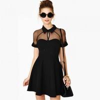 Summer Sexy Women Mini Dress Mesh Cutout Sweetheart Neckline Short Sleeve Skater Dress