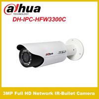 Original Dahua 3MP IPC-HFW3300C Full HD Network IR-Bullet Camera IP CCTV  Camera Power Supply PoE  Free shipping