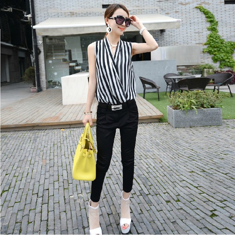 Honey summer new arrival 2014 fashion normic chiffon stripe black knee