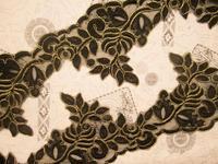 15yard 12cm Black Golden Lace Trim Bridal Veil Trim Embroidery Applique Wedding Dress Accessories Guipure Lace Fabric AC0228