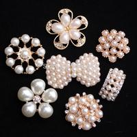 pearl bow embellishment for handmade flowe flat back crystal brooch for invitation cards shining rhinestone button 30PCS