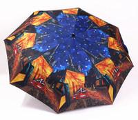 2014 free shipping coffee shop oil painting automatic umbrella fashion three folding travel umbrella Rechar018