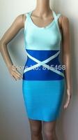 2014 summer new Blue thin shoulder stitching backless rayon elastic knitting celebrity bandage dress women wholesale