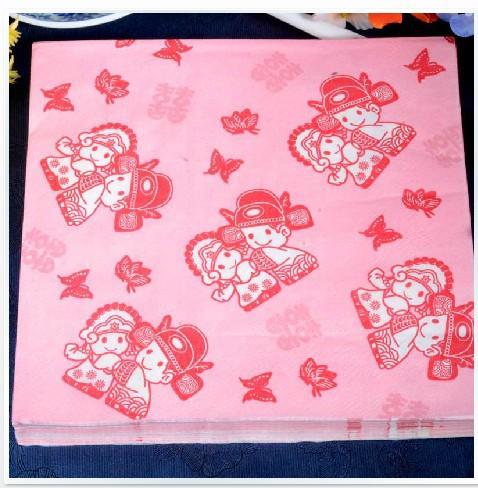 Multicolour table napkin Printed paper napkin Colorful serviette Fashion Napkin Paper ( 10 packs=200pcs)(China (Mainland))