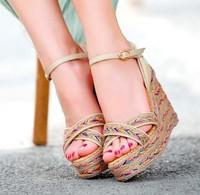 New arrival bohemia platform wedges sandals for women patchwork color block cross platform wedges high heel sandals size 33-41