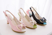 free shipping 2014 summer casual fashion bowtie peep toe  nude pink black women rhinestone pumps shoe