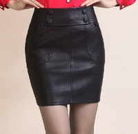 2014 new PU package hip skirt sexy leather skirt free shipping