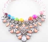 2014 New Shourouk Pearl and Enamel Beaded Necklace & pendant chunky choker statement necklace women gift wholesale