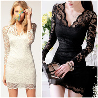 2014 Summer Dress Sexy Lace V-Neck Long Sleeve Dress Women's Short Party Dress Elegant Lace Evening Dresses Free Shipping