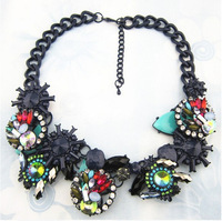 Brand Luxury Necklaces Crystal Flower  Vintage jewelry Chunky Statement Necklace for Women 2014