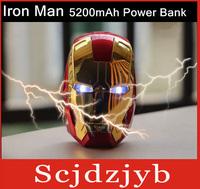 10pcs/lot Free Shipping External 5200MA cartoon iron man power bank for iphone/ samsung/lenovo/Nokia ect