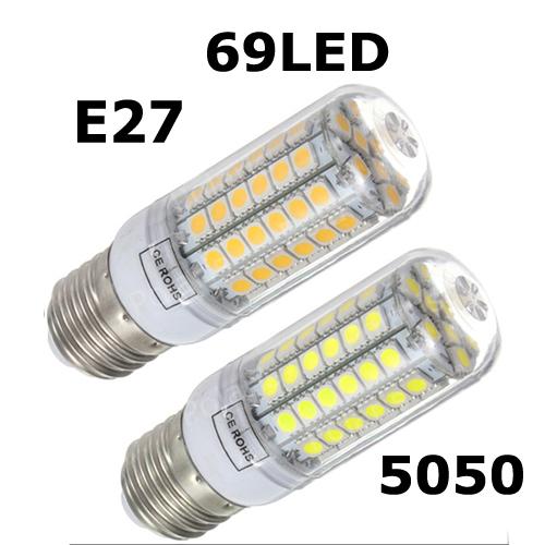 2014 NEW High Brightness Wall LED lamps E27 69 LEDs 220V High Quality 5050 SMD Corn LED Bulb 15W Ceiling lights 1pcs/lots(China (Mainland))