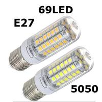 2014 NEW High Brightness Wall LED lamps E27 69 LEDs 220V High Quality 5050 SMD Corn LED Bulb 15W Ceiling lights 1pcs/lots